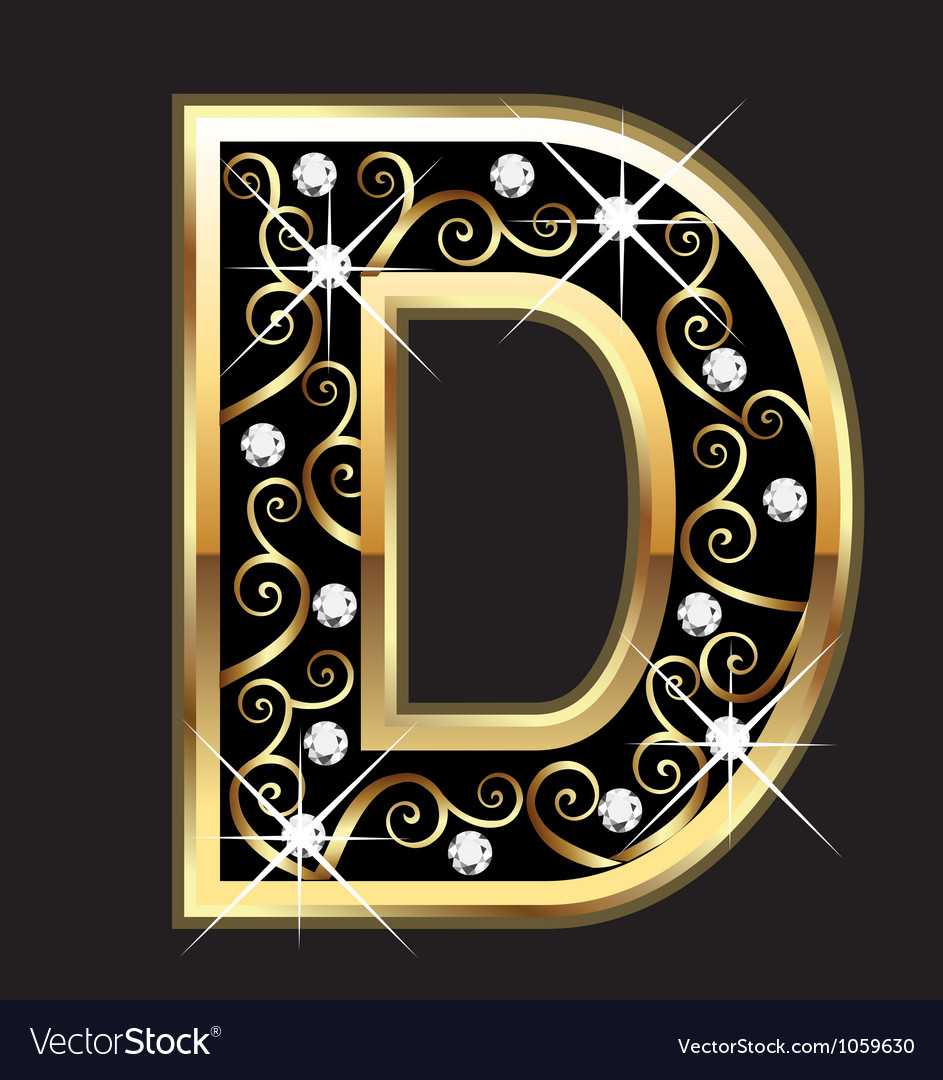 D gold letter with swirly ornaments Vector Image