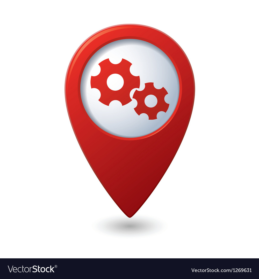 Map pointer with gears icon vector image