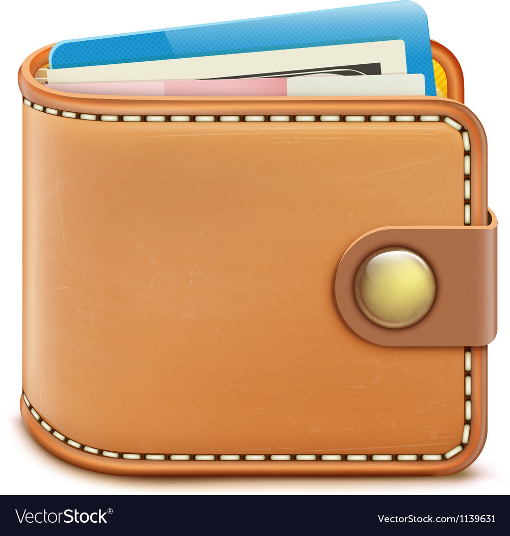 Realistic closed wallet vector image