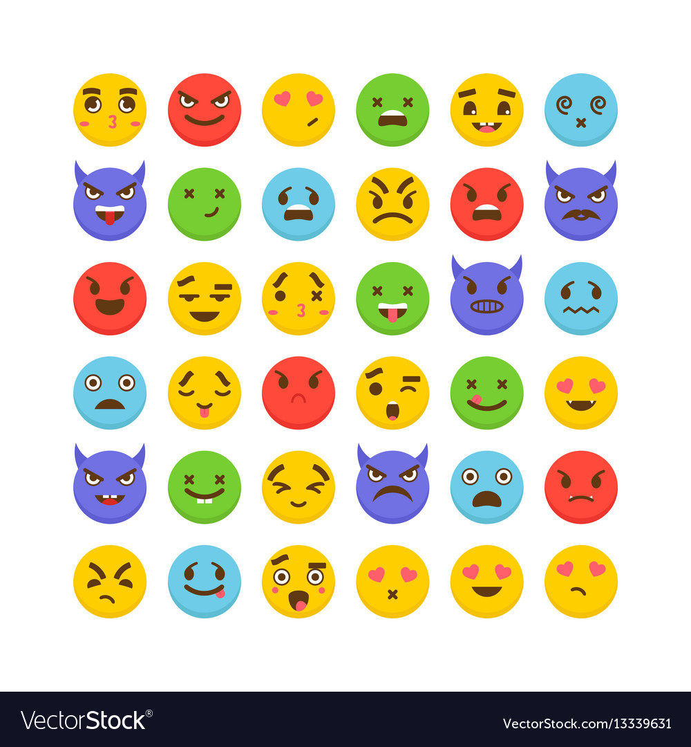 Set of emoticons avatars funny cartoon faces vector image