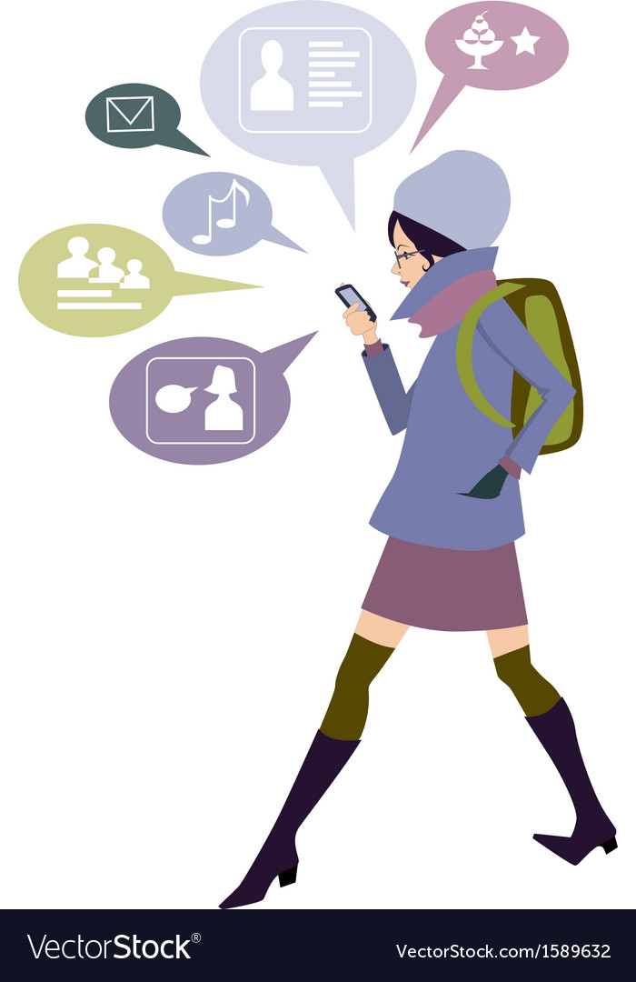 Smartphone and networking vector image
