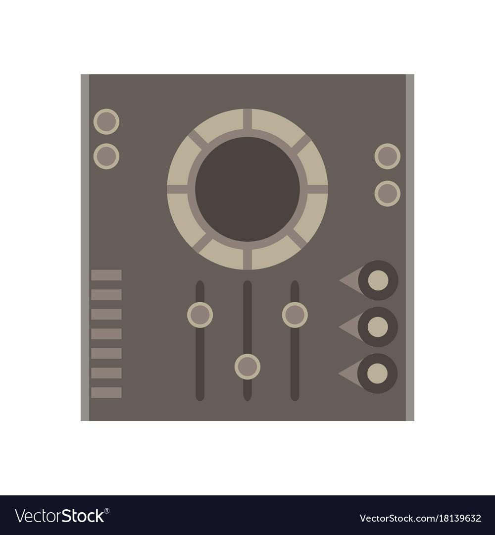 Dj mixer icon music party audio console control vector image
