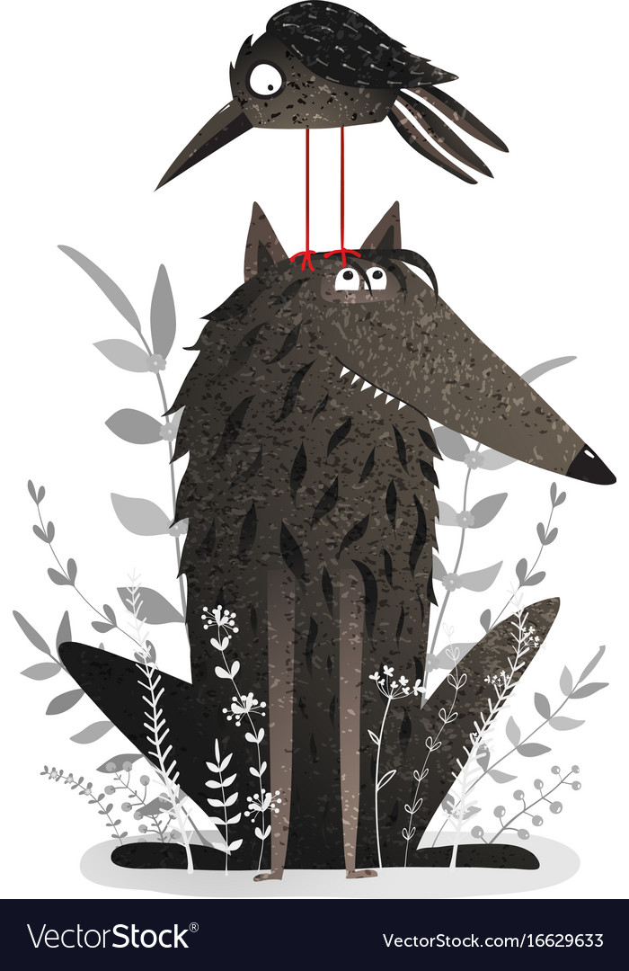 Black wolf and crow vector image
