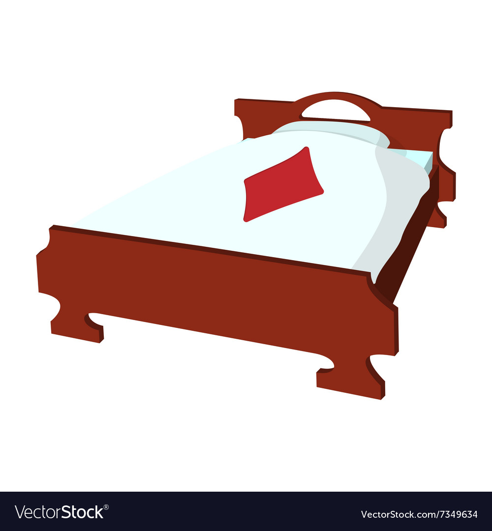 Bed with pillow and a blanket cartoon icon vector image