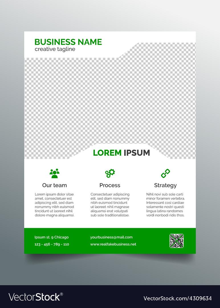 Business Flyer Template Simple Green Design Vector Image - Simple brochure template