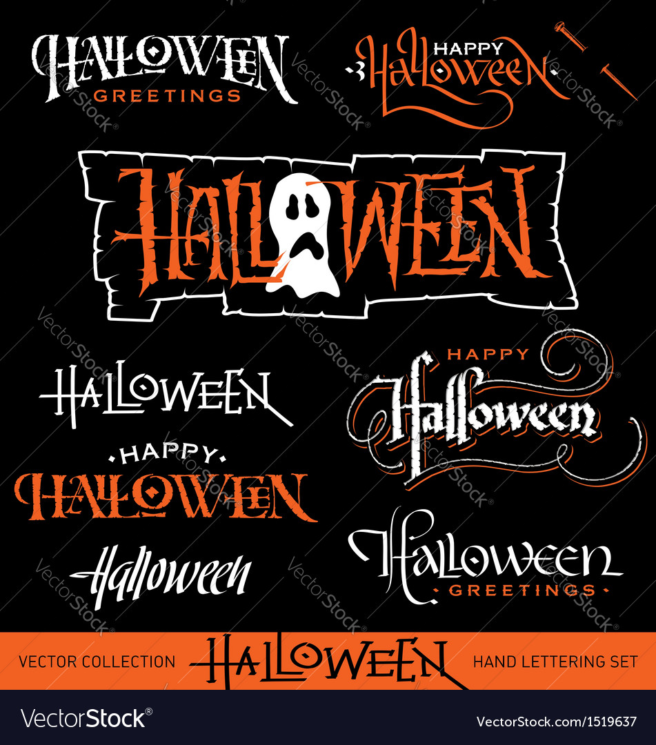 HALLOWEEN hand lettering set vector image