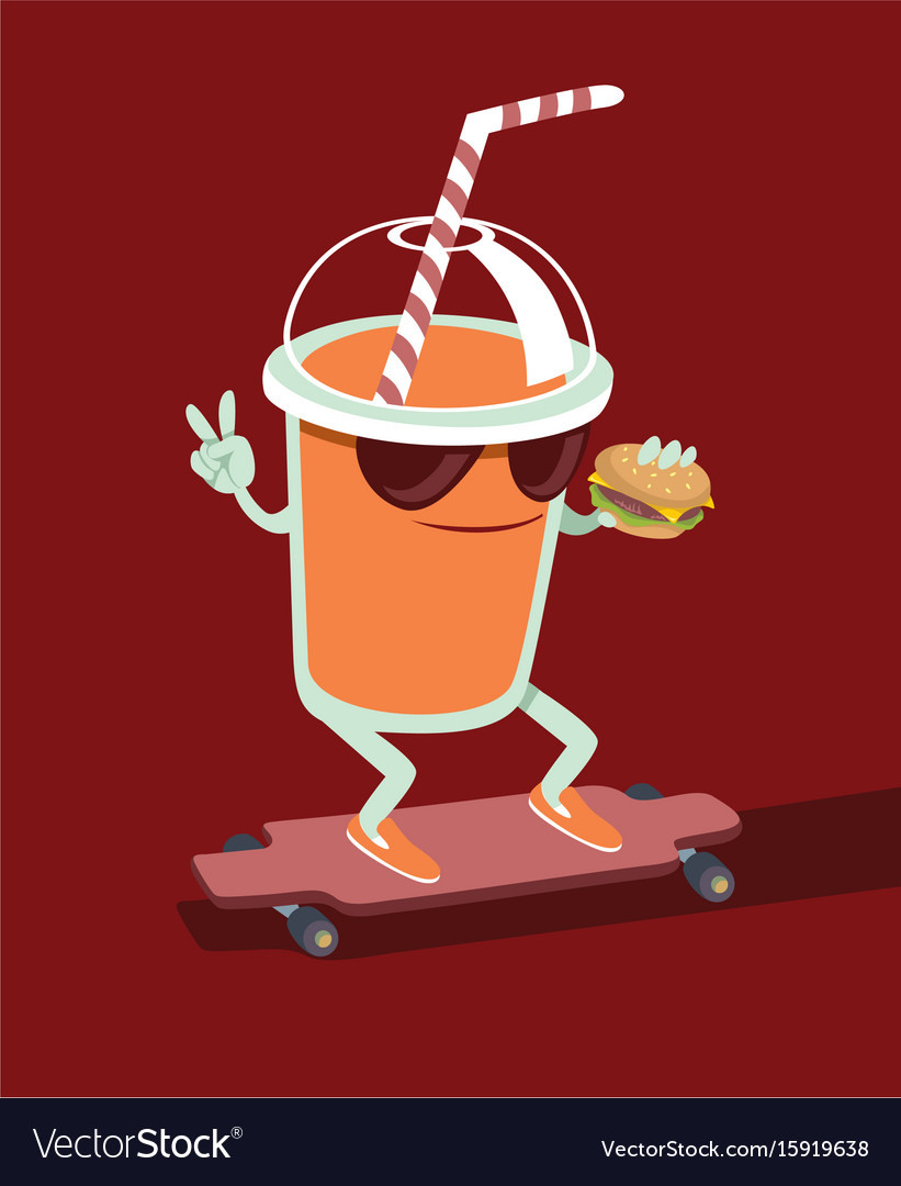 Beverage character skating vector image