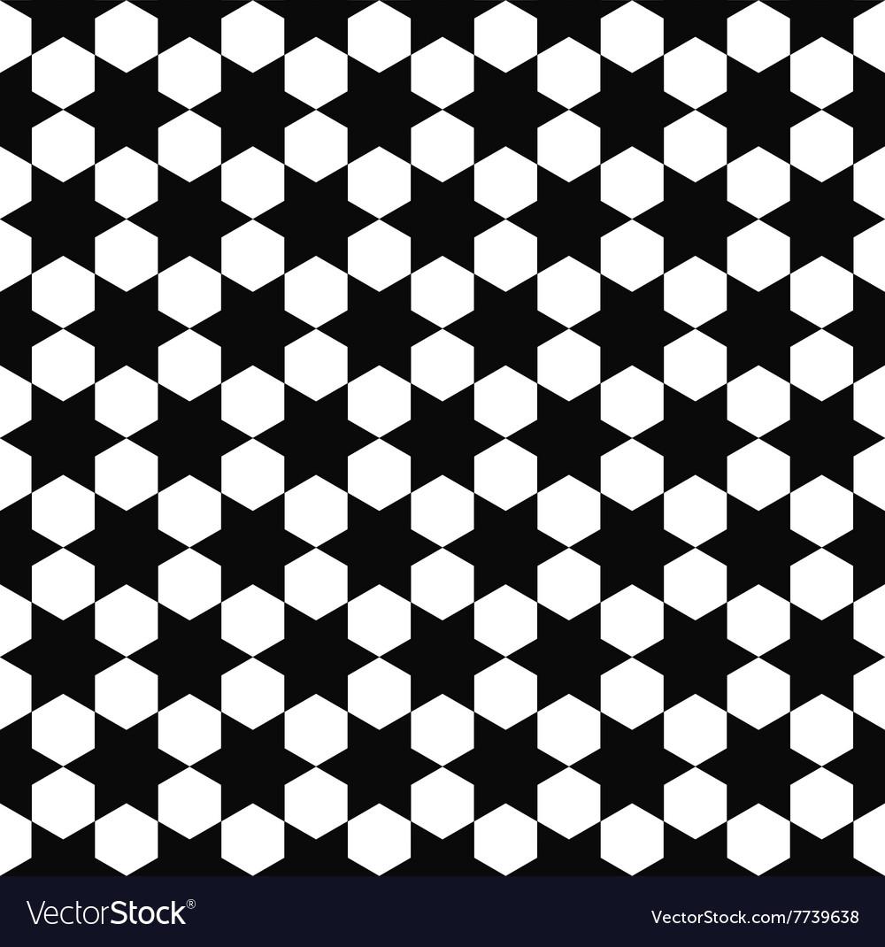 Seamless black white hexagram pattern vector image