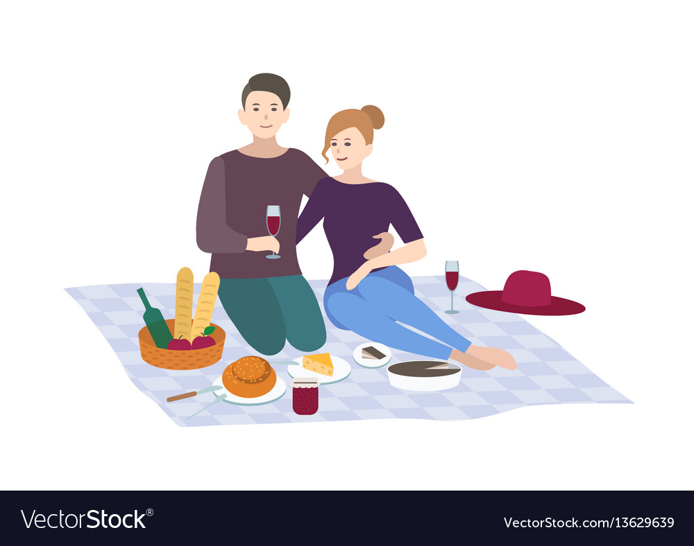 Picnic couple together vector image