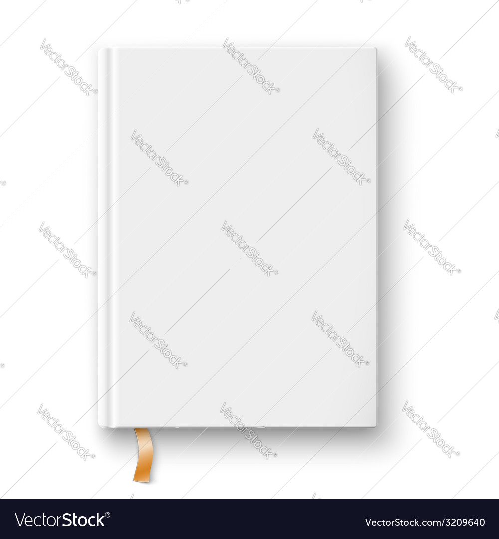 Blank book template with gold bookmark vector image