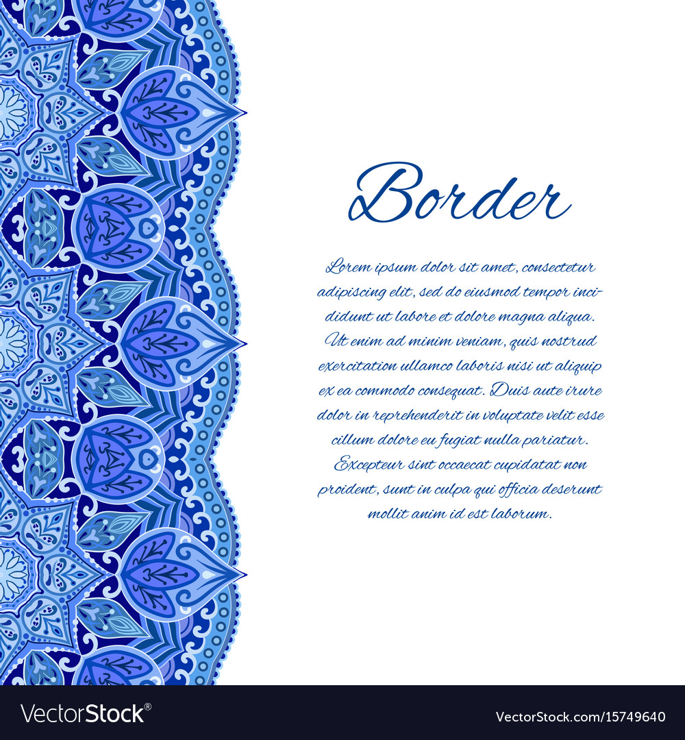Card with mandala border card or invitation blue Vector Image