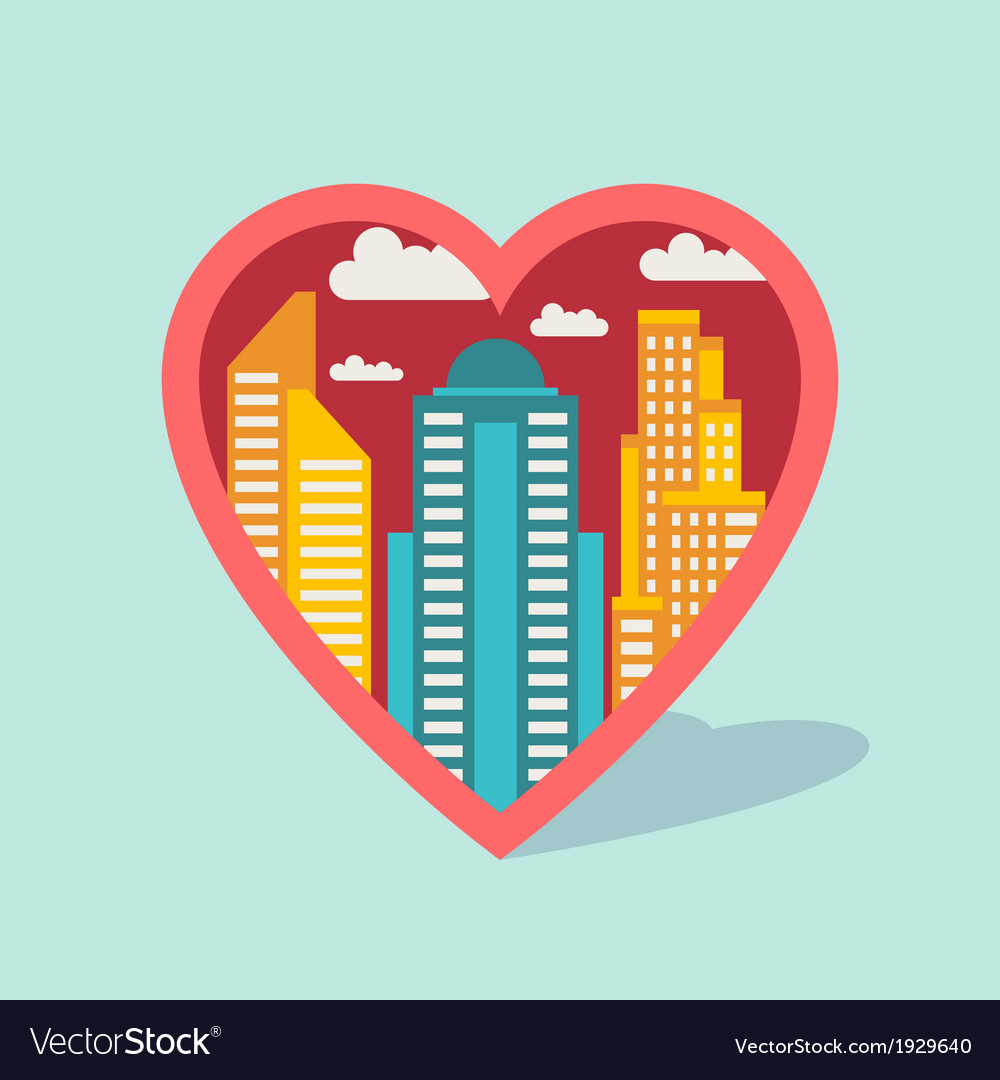 Cityscape background with buildings in shape of vector image