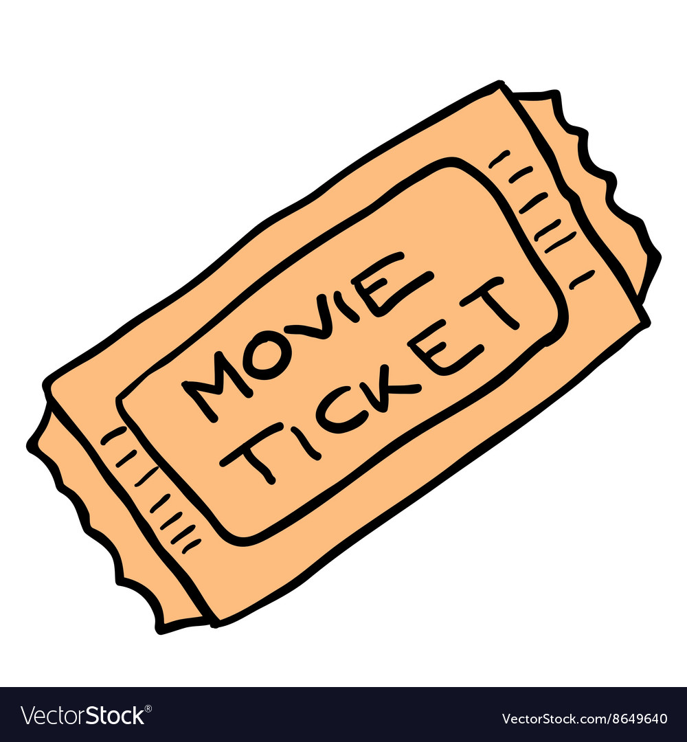 Freehand cartoon movie ticket vector image