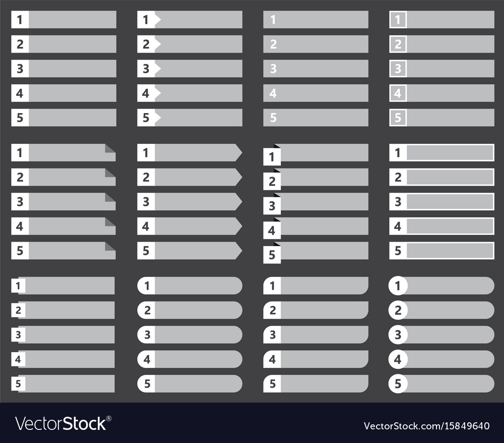 Numbered list template set chart table vector image