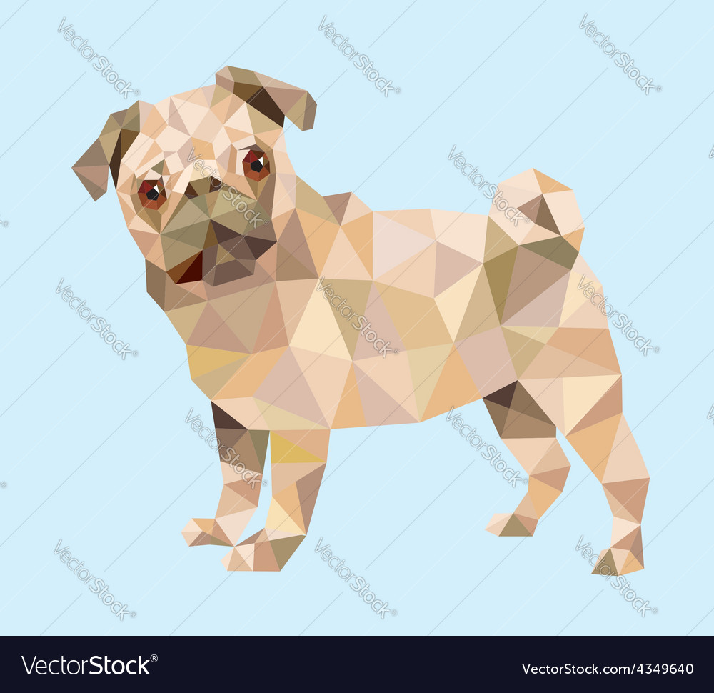 pug dog low polygon royalty free vector image vectorstock