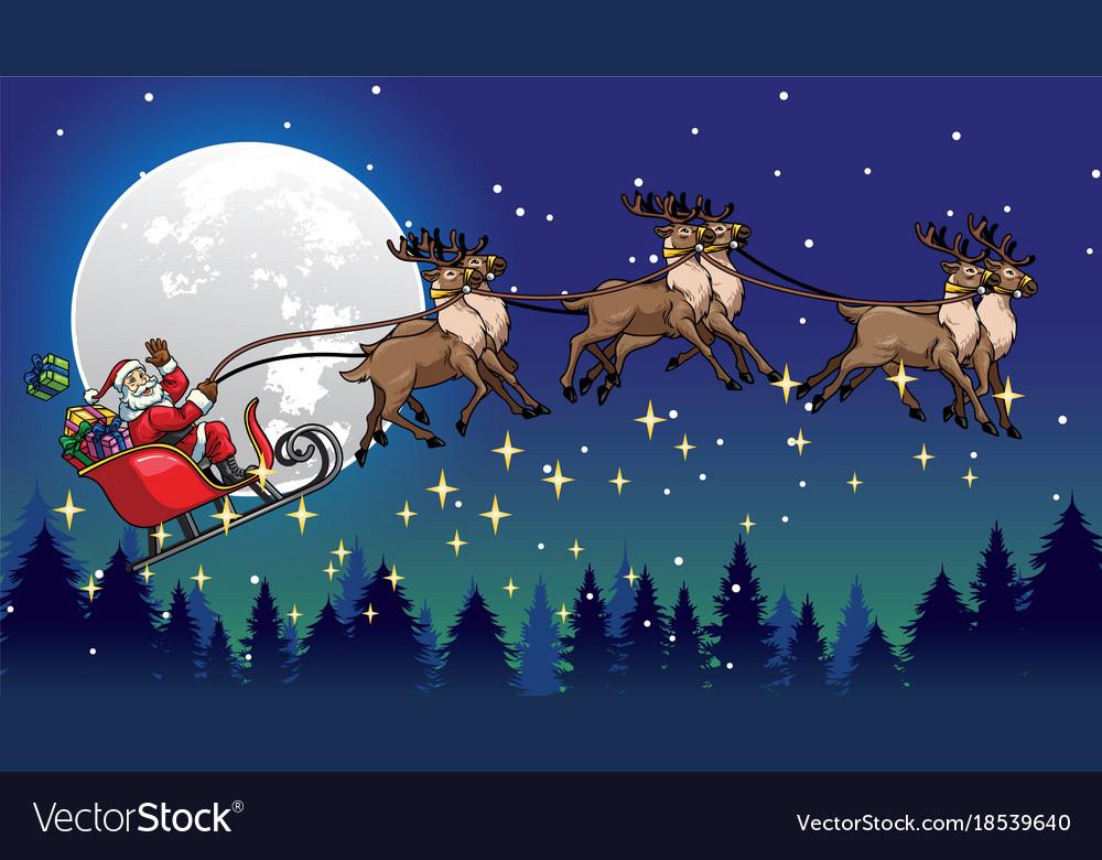 Santa ride sleigh pulled by his reindeers vector image