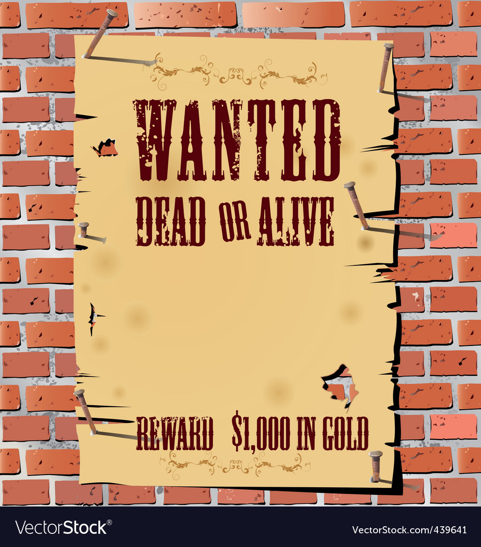 Wanted on old paper background vector image
