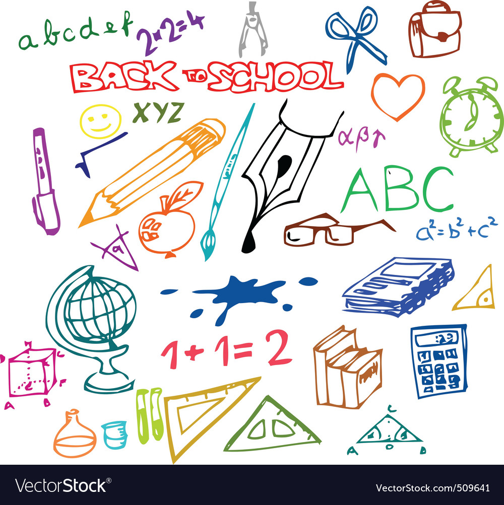 Back to school illustrations vector image