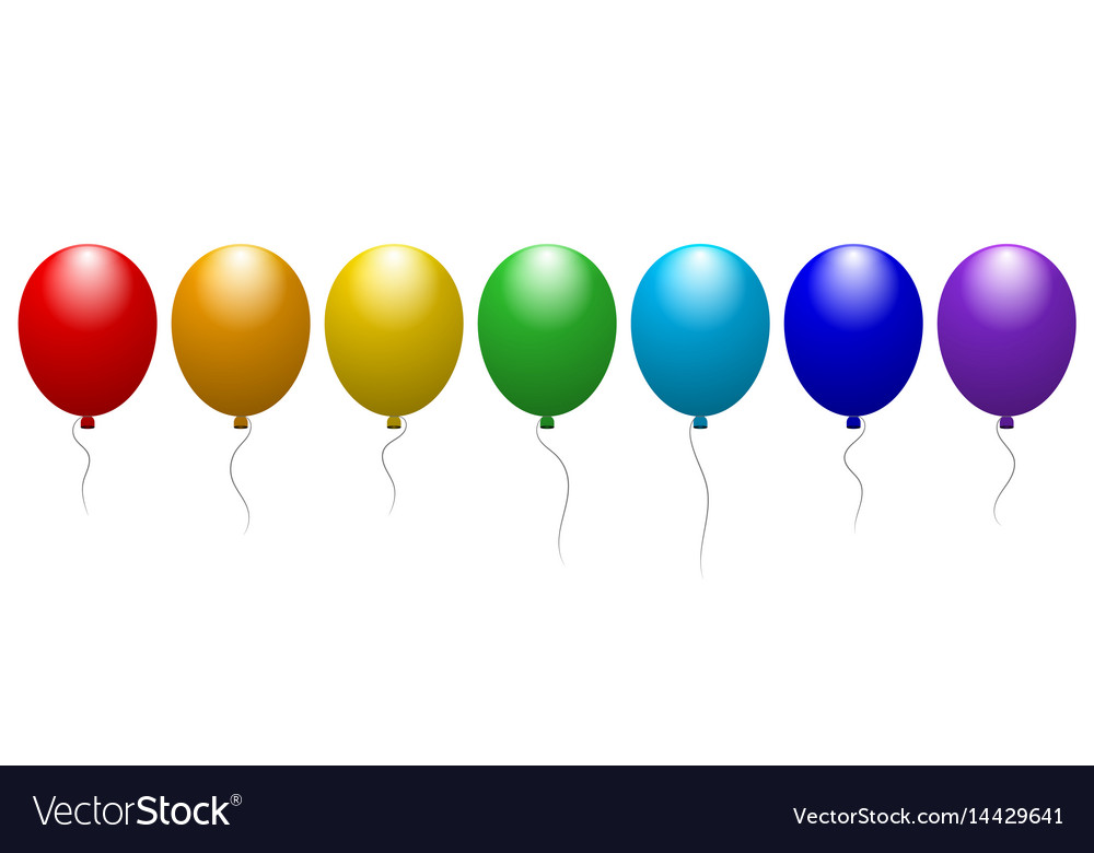 Balloons of all colors of the rainbow festive vector image