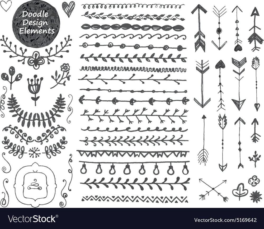 Floral decor set collection of hand drawn vector image