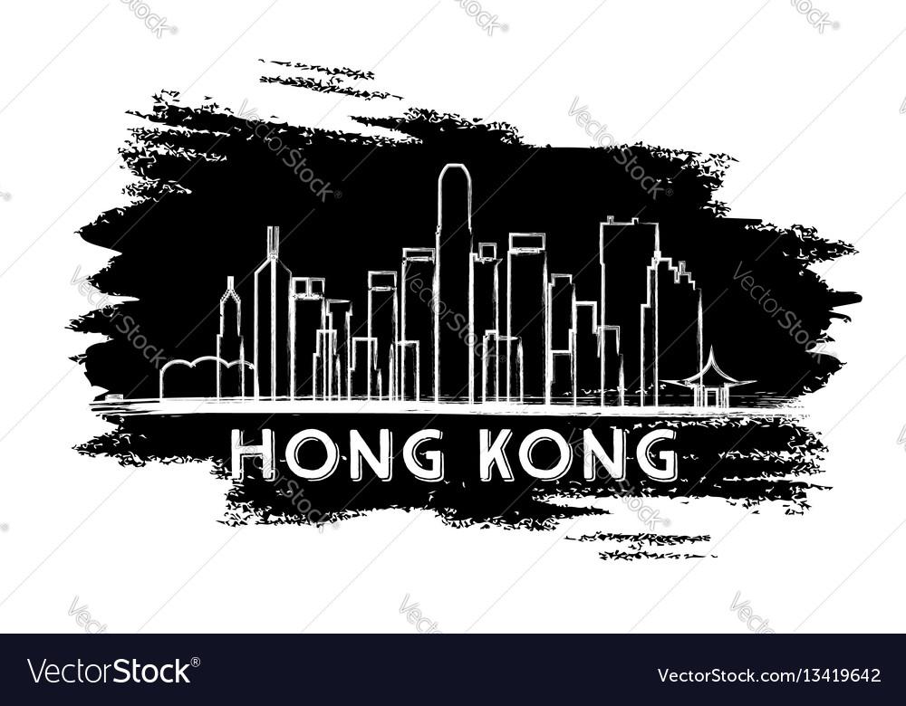 Hong kong skyline silhouette hand drawn sketch vector image