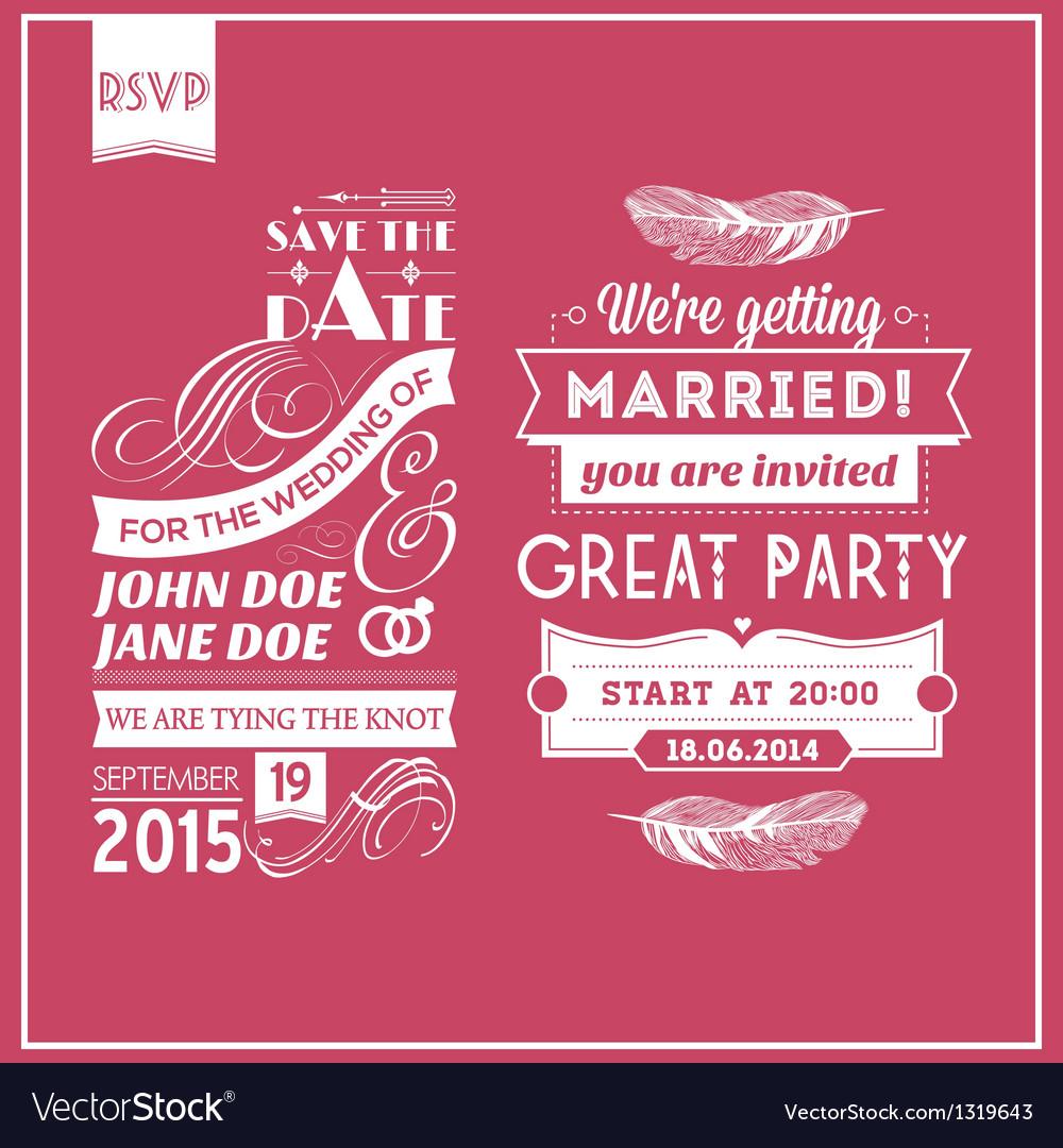 Wedding stamps pink vector image