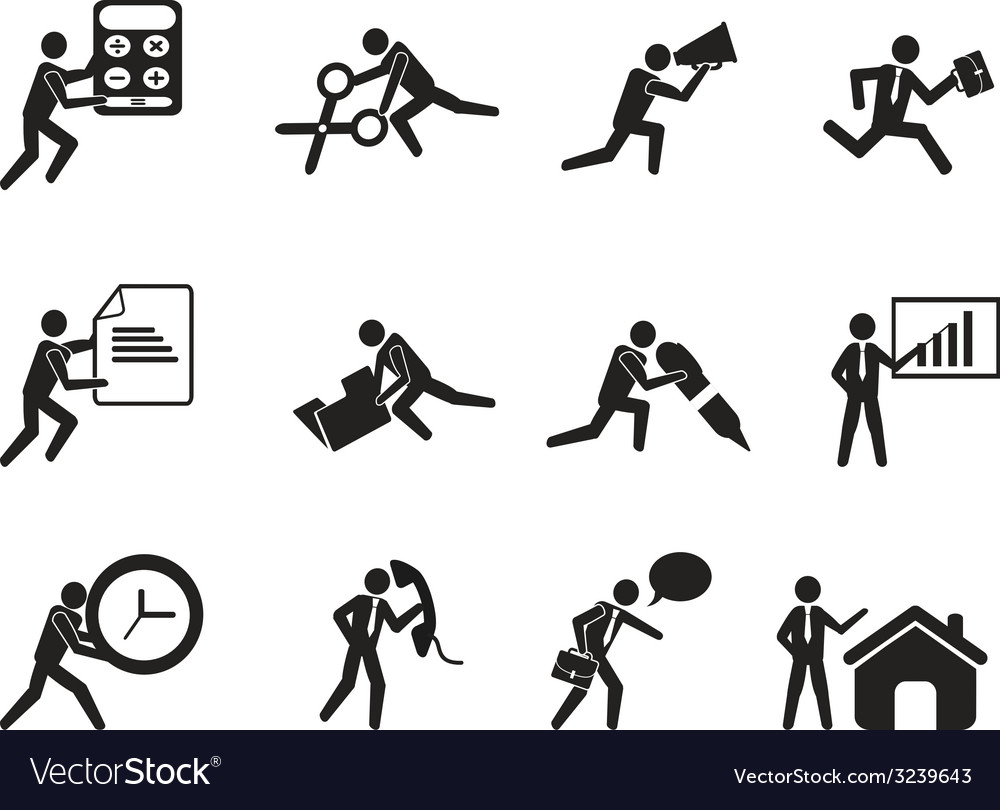 Businessman office working man icons set vector image