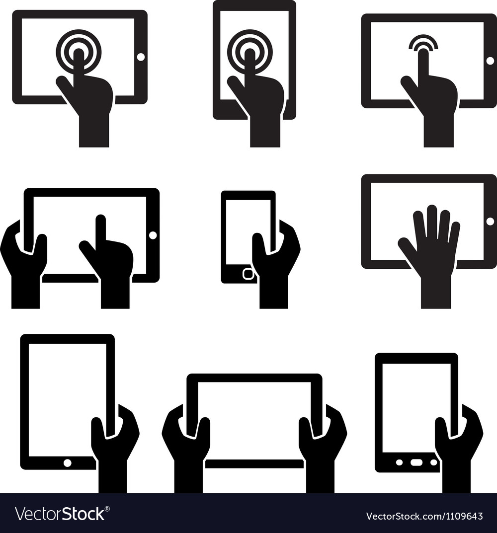 Icon set tablets and gadgets with touch screen vector image