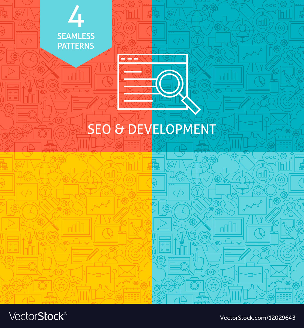 Line SEO Development Patterns vector image