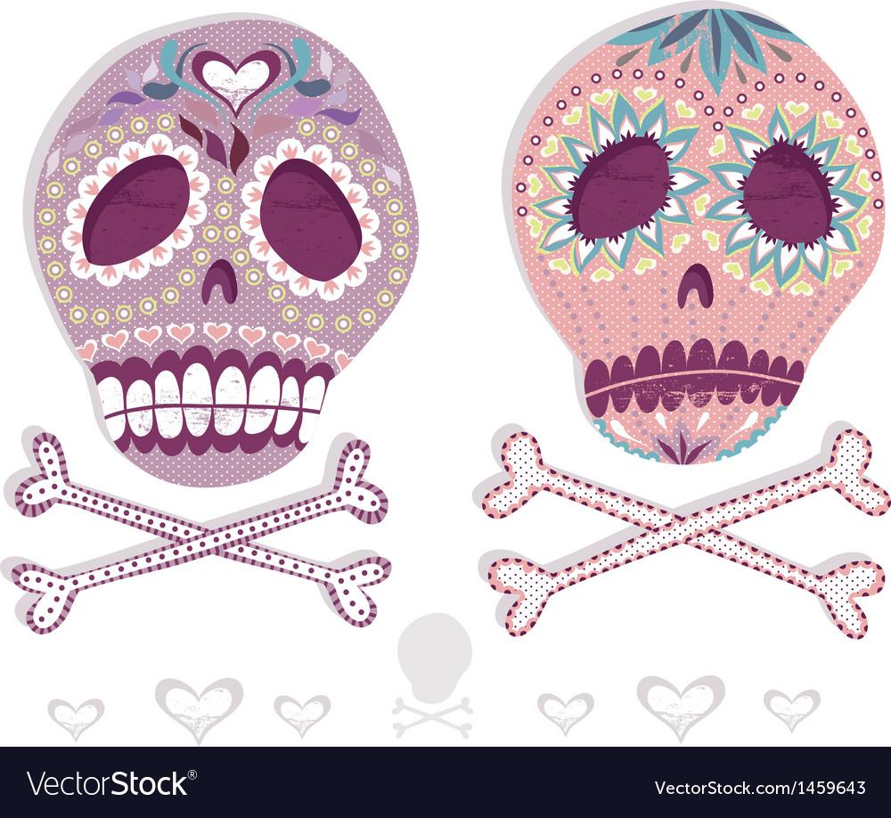 Mexican sugar skull set vector image