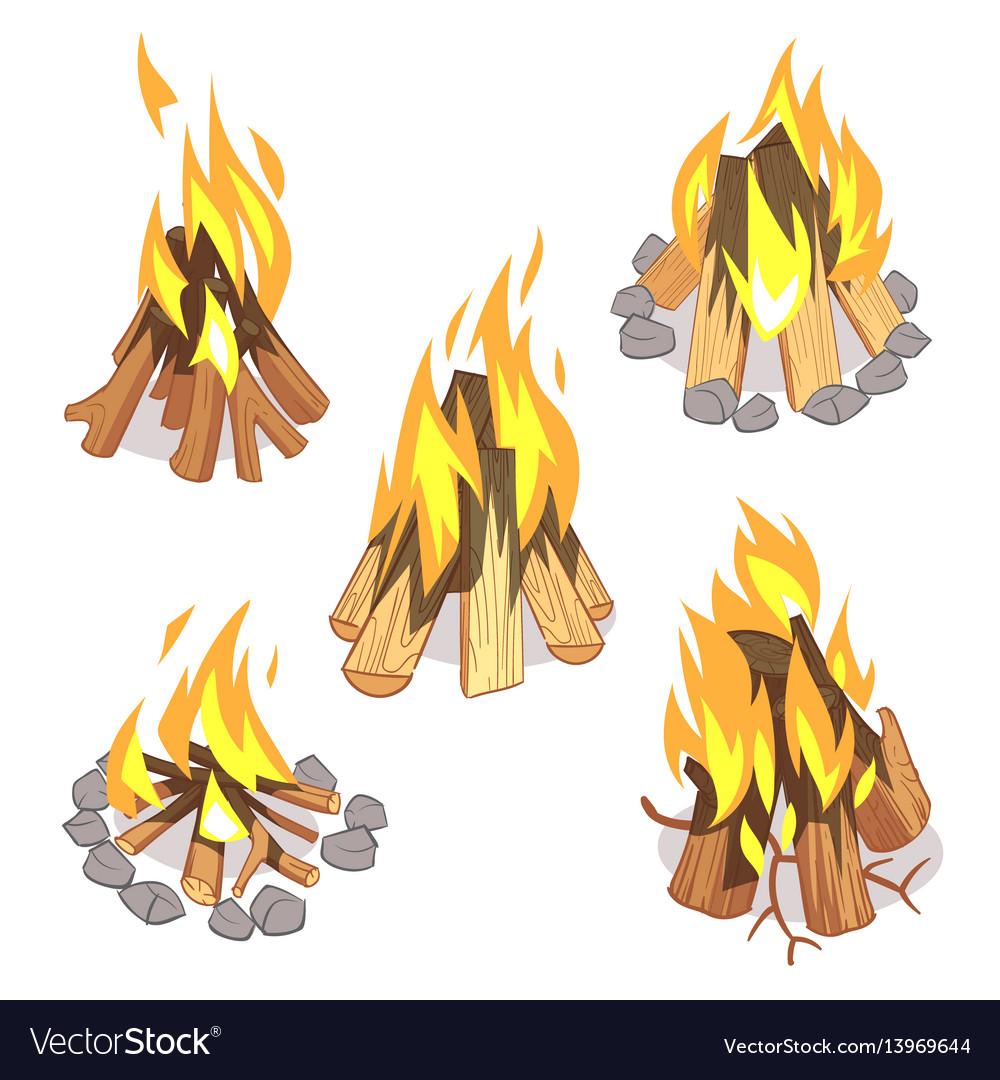 Campfire outdoor bonfire with burned logs cartoon vector image