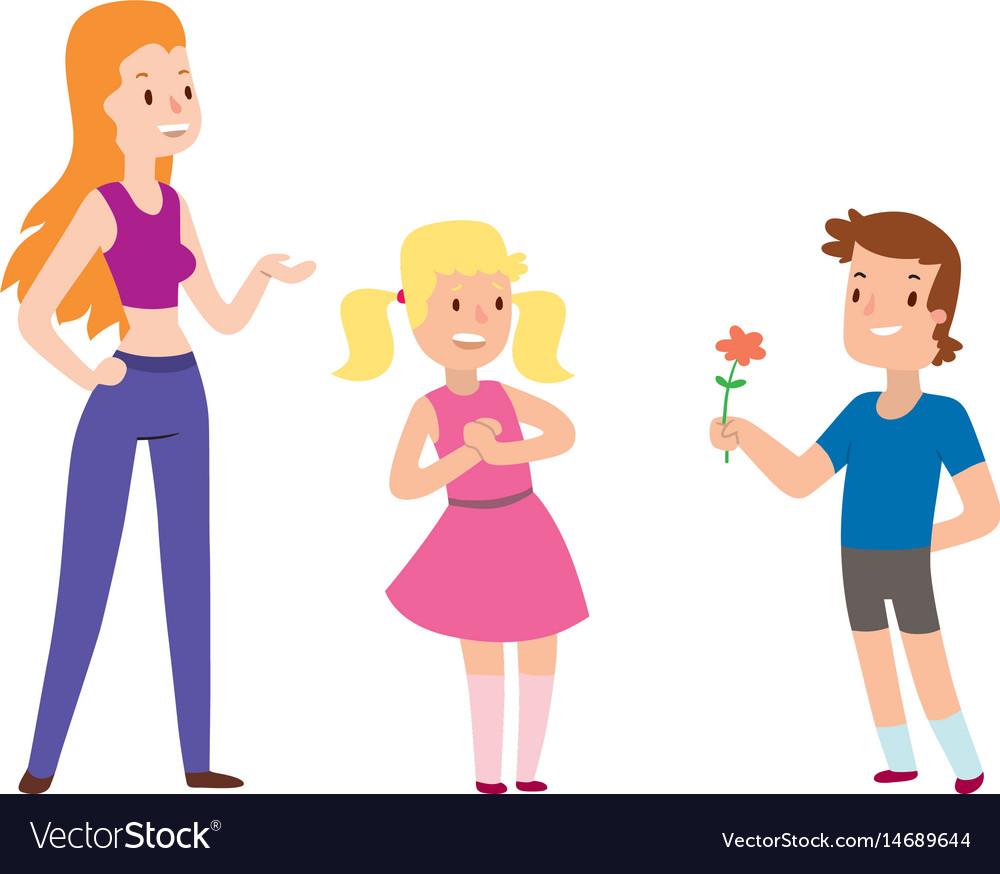 Children happy couple cartoon relationship vector image