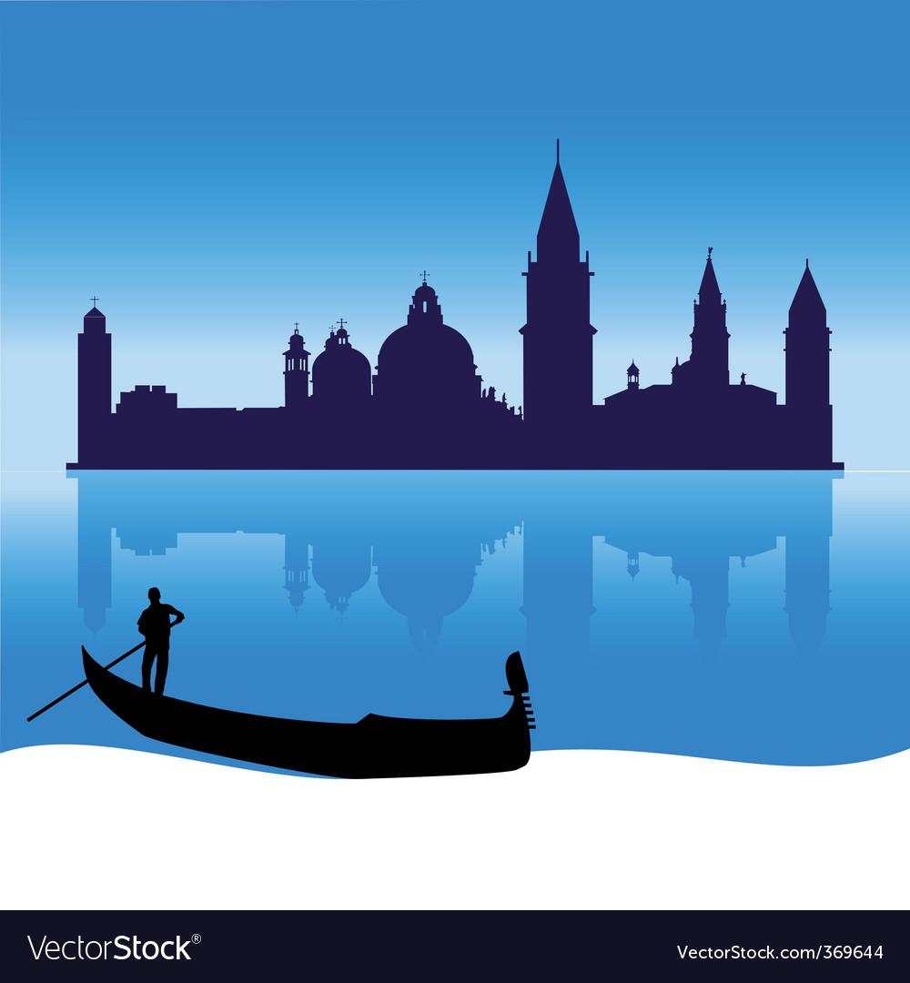Venice silhouette skyline vector image