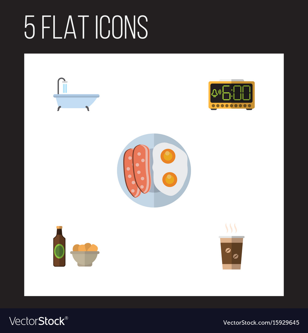 Flat icon lifestyle set of cappuccino tub beer vector image