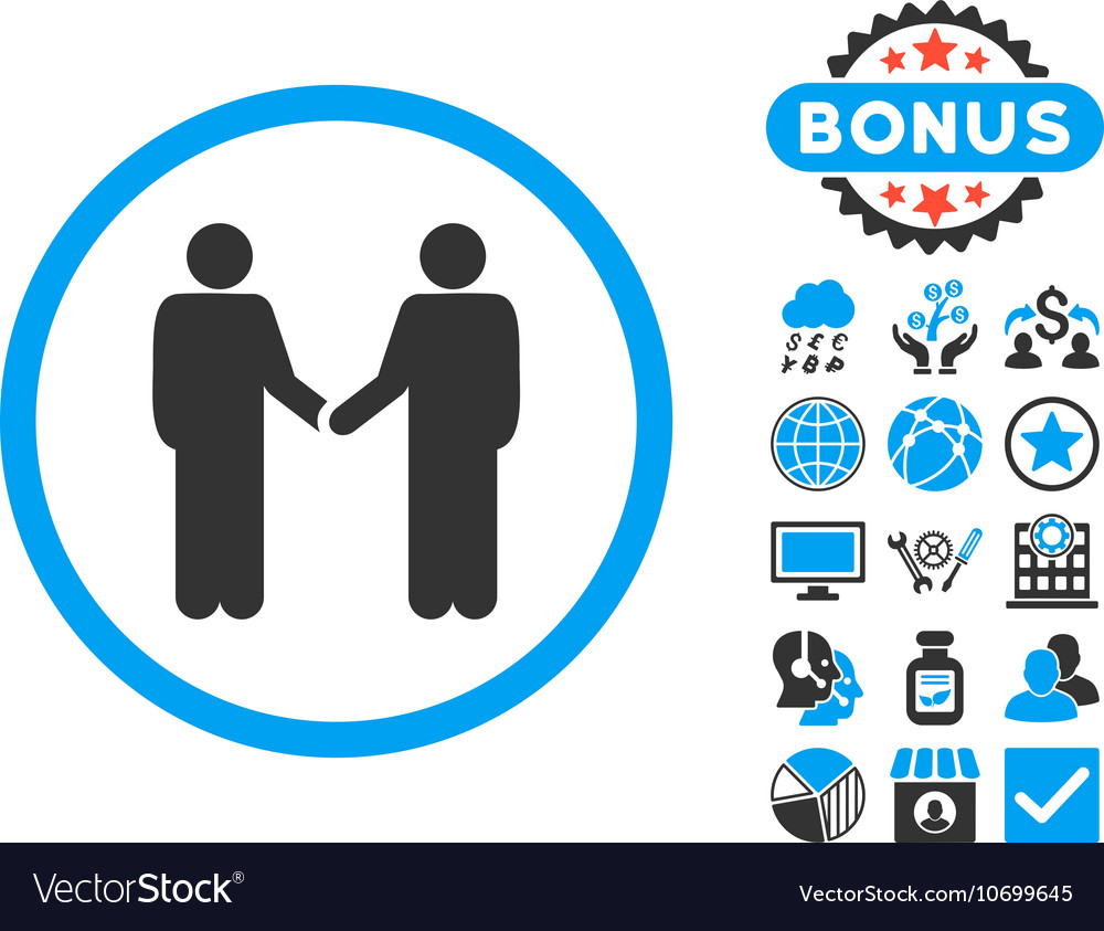 Handshake Flat Icon with Bonus vector image