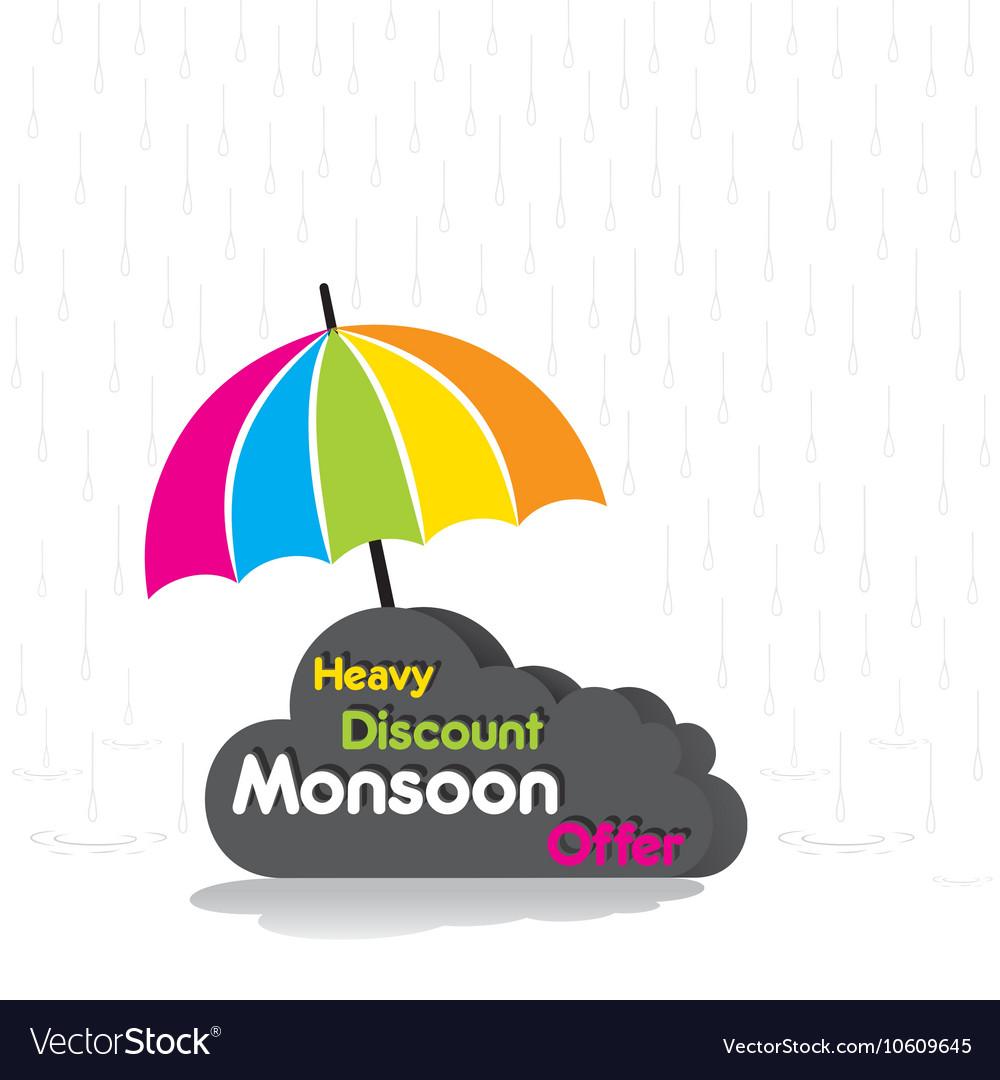 Poster design vector - Heavy Discount Monsoon Offer Poster Design Vector Image