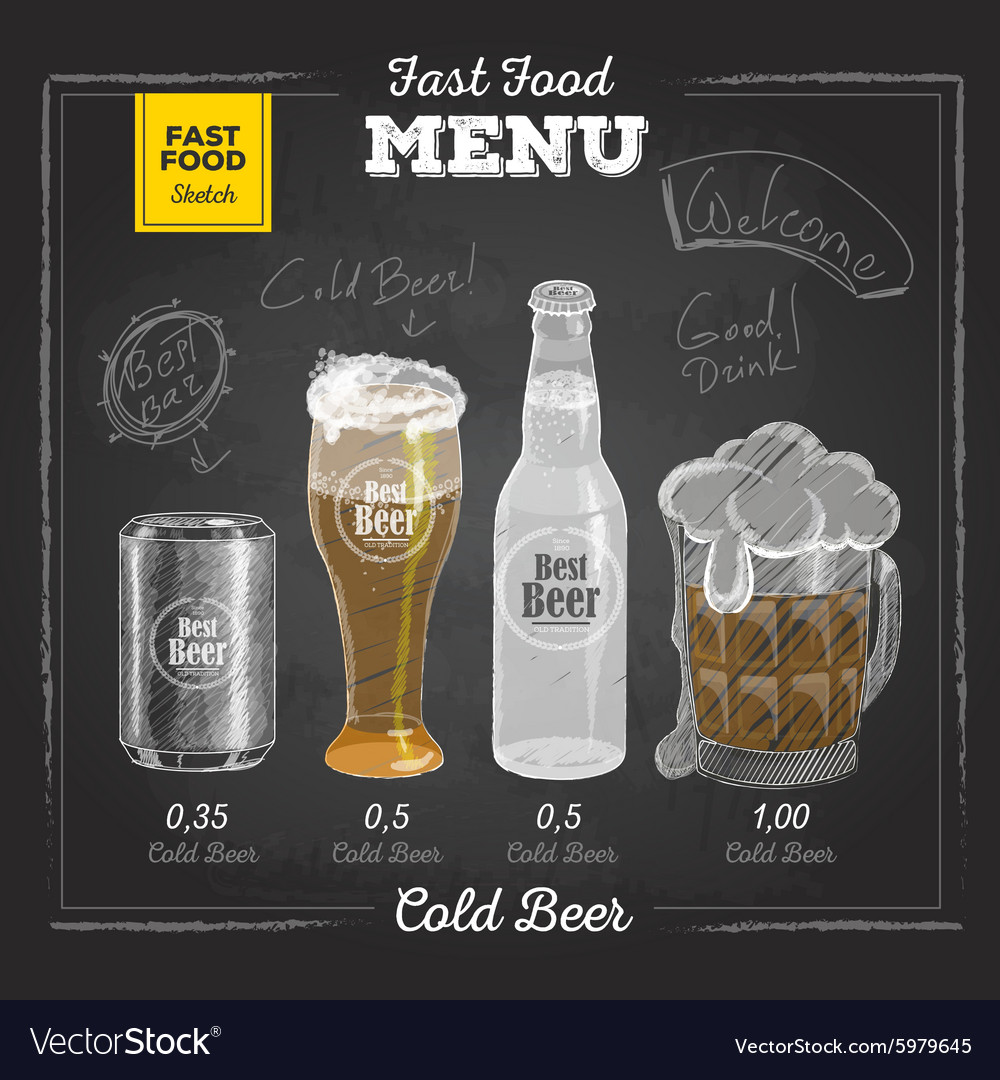 Vintage chalk drawing fast food menu Cold beer vector image