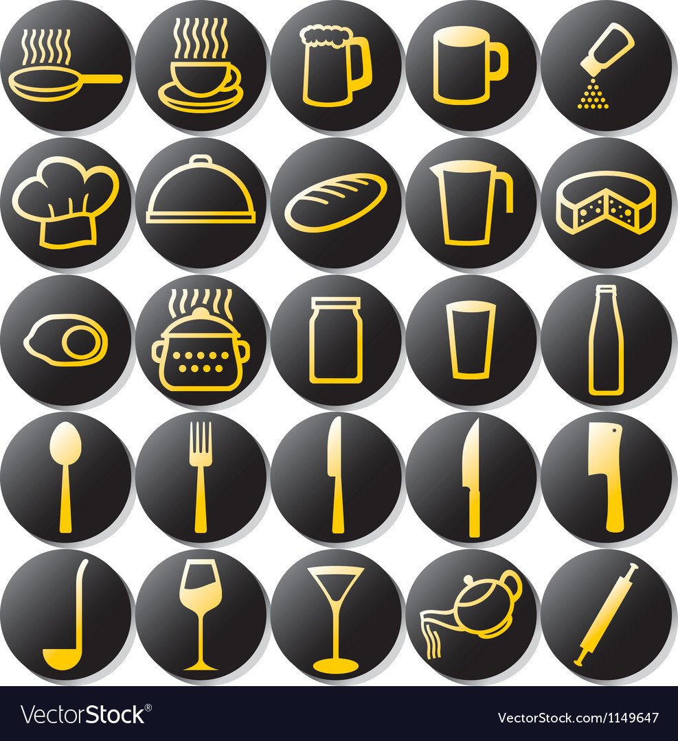 Kitchen buttons set vector image
