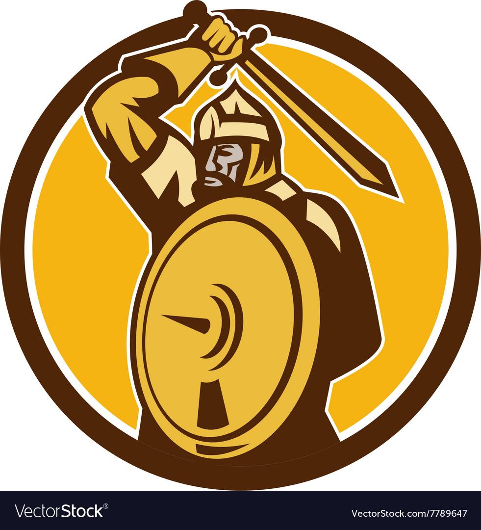 Mongol Horde Barbarian Warrior Sword Circle Retro vector image