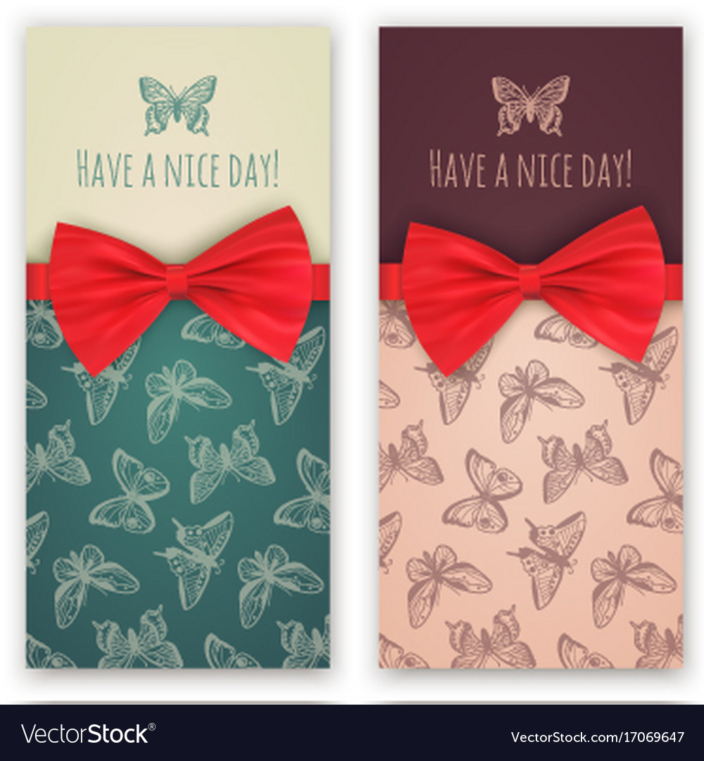 Sketch butterflies and red ribbon bow vector image