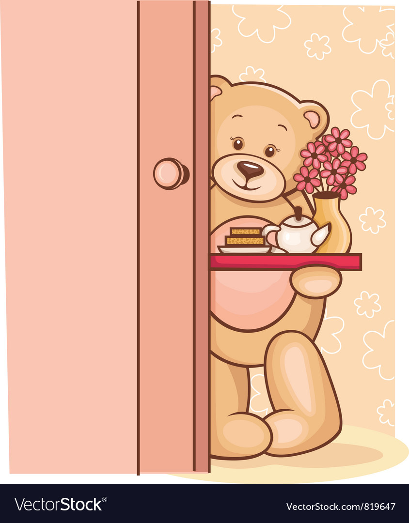 Teddy Bear breakfast tray vector image