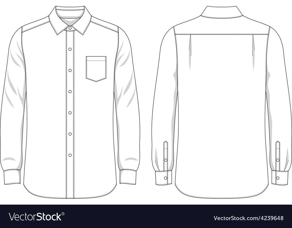 Blank mens shirt royalty free vector image vectorstock for Long sleeve t shirt template illustrator