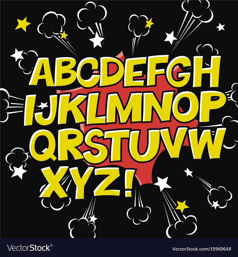 Comic alphabet and speech bubble elementexplode vector image