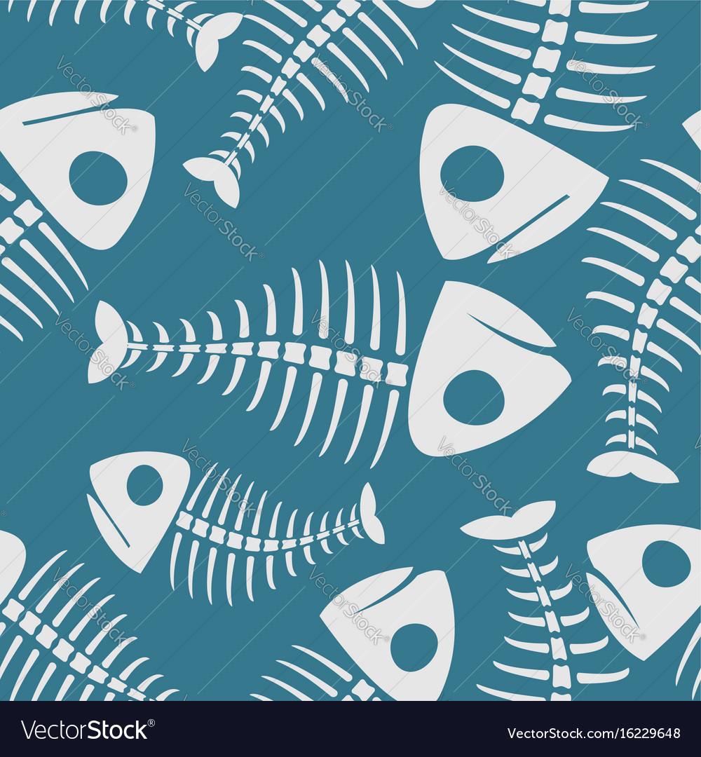 Fish bones seamless pattern fishy skeleton vector image
