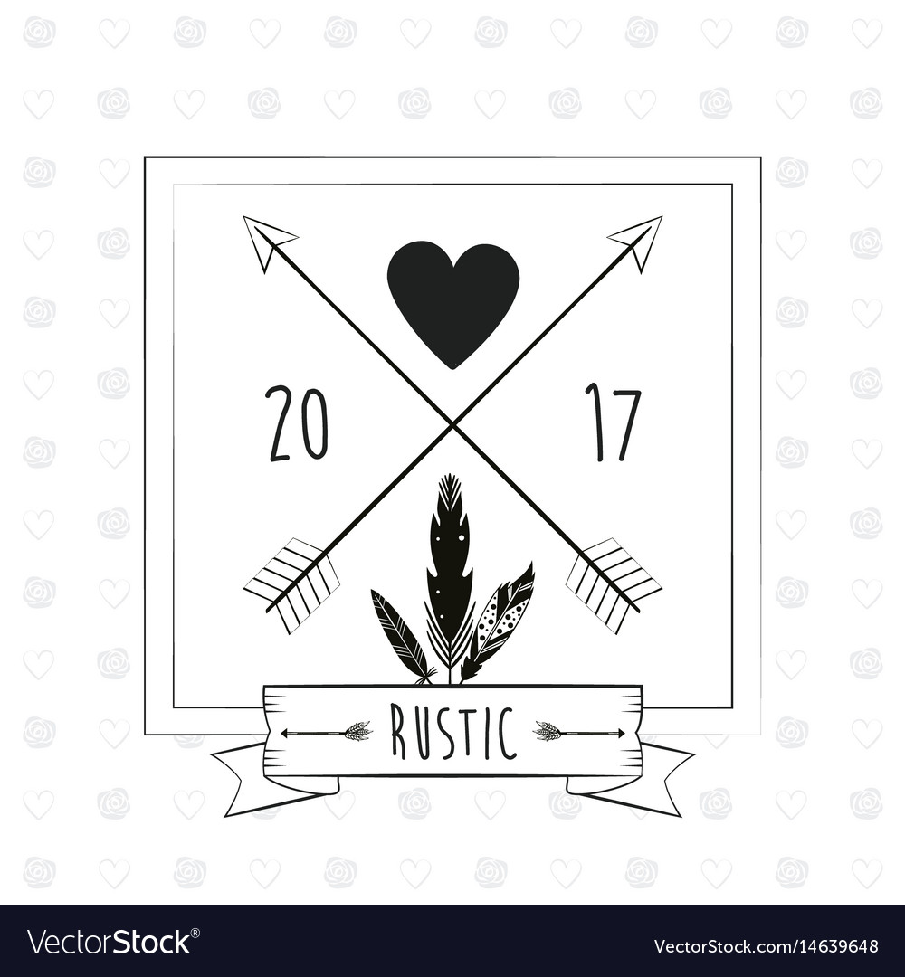 Rustic Card Greeting Feather Heart With Arrow Vector Image