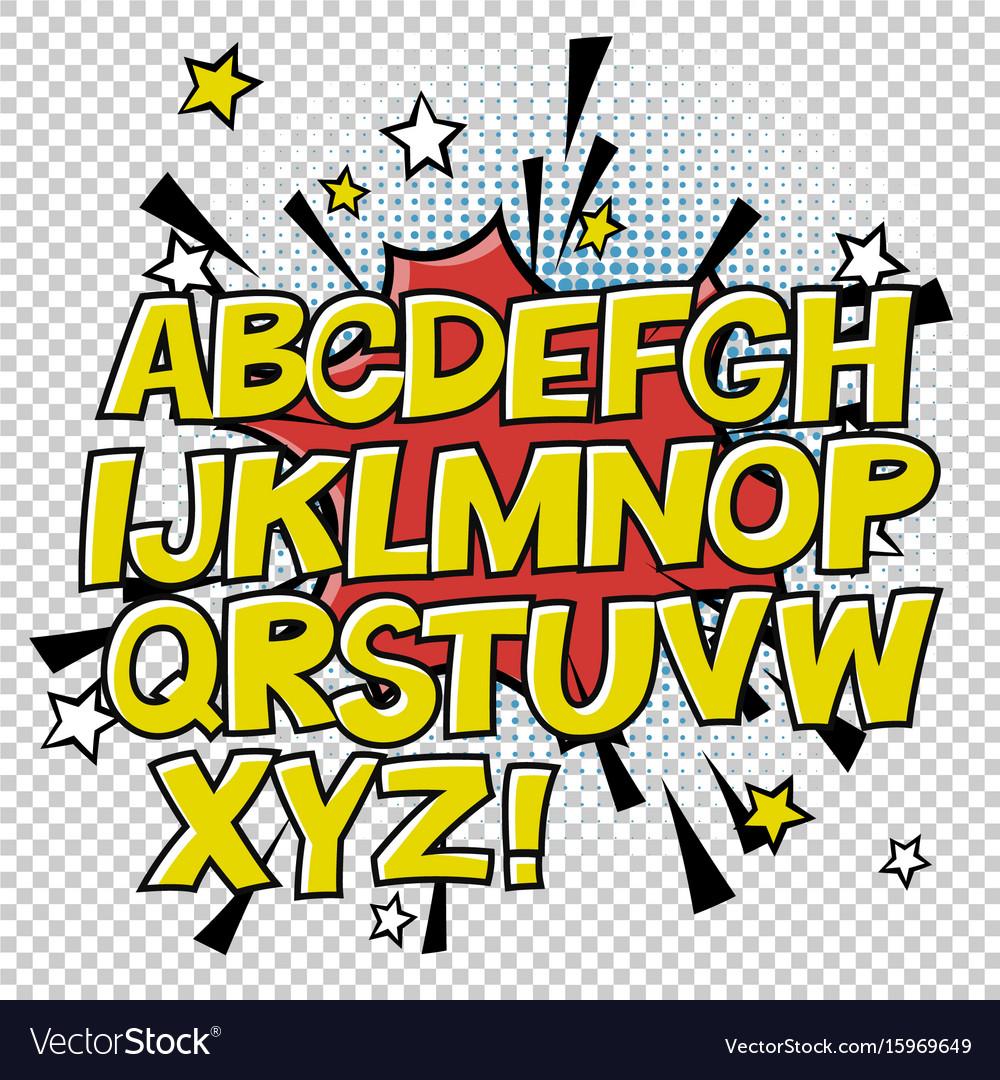 Comic alphabet and speech bubble element halftone vector image