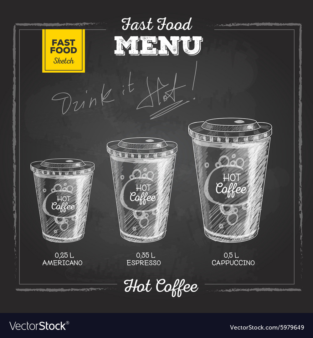 Vintage chalk drawing fast food menu Hot coffee vector image