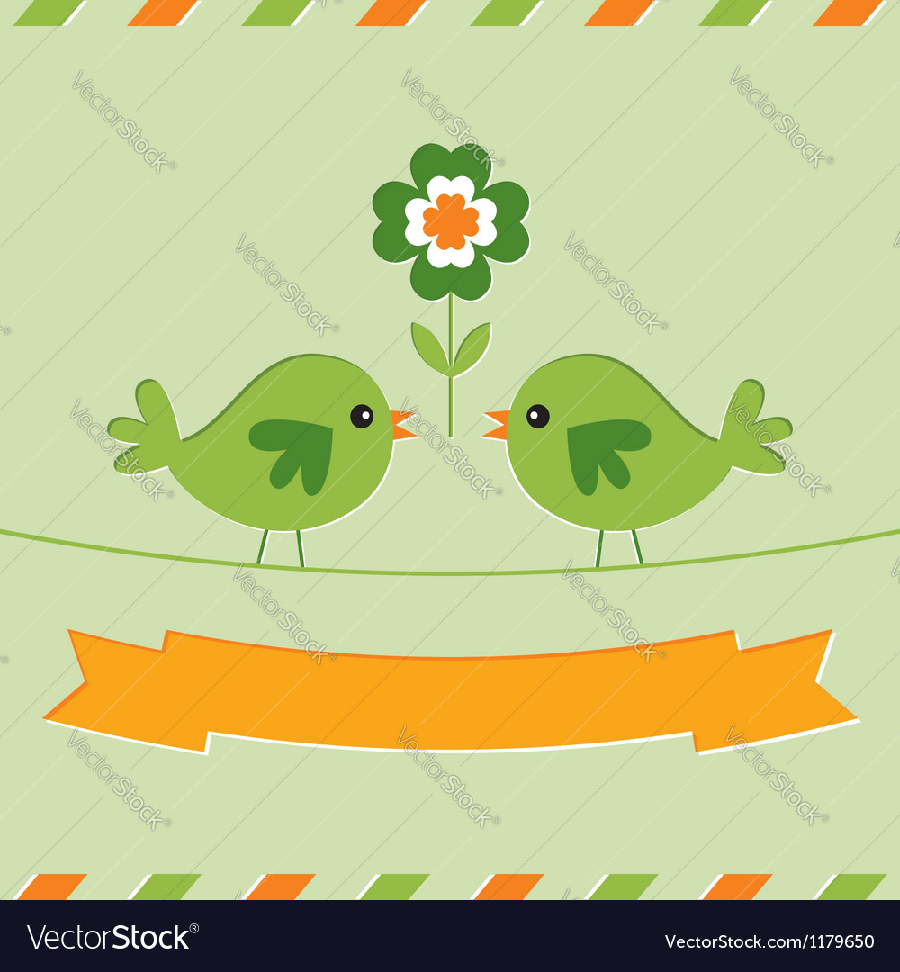 St Patricks Day card with cute birds vector image
