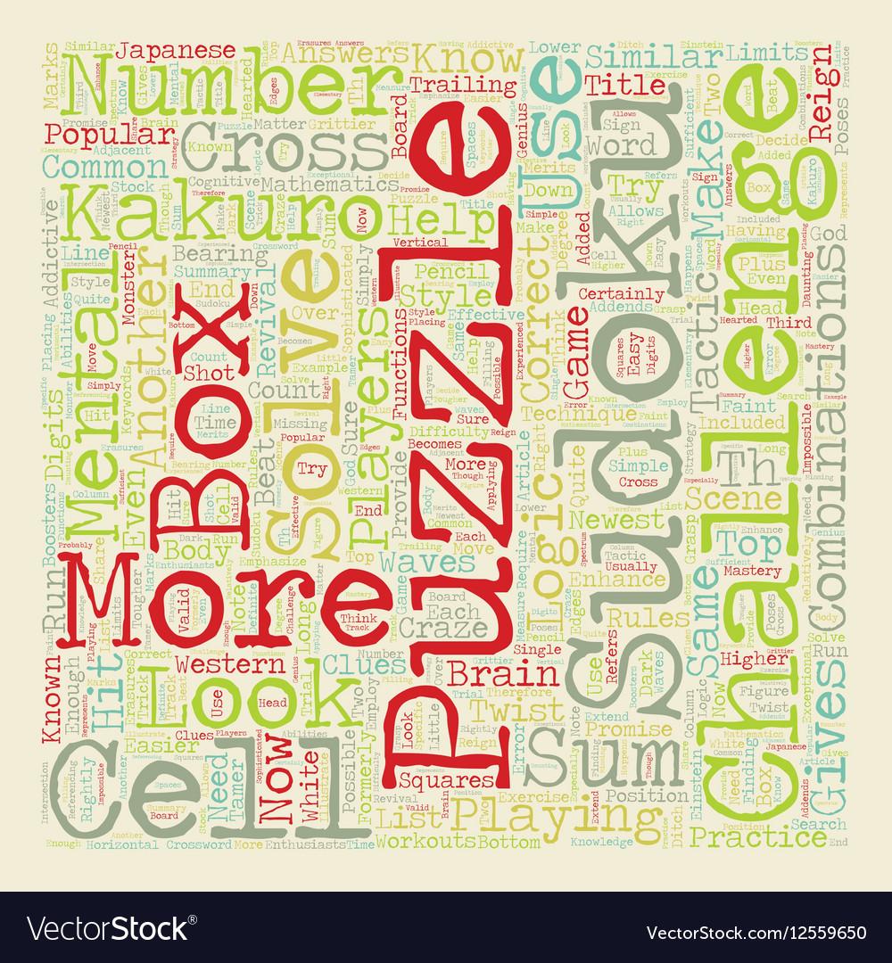 Beat The Kakuro Monster text background wordcloud vector image