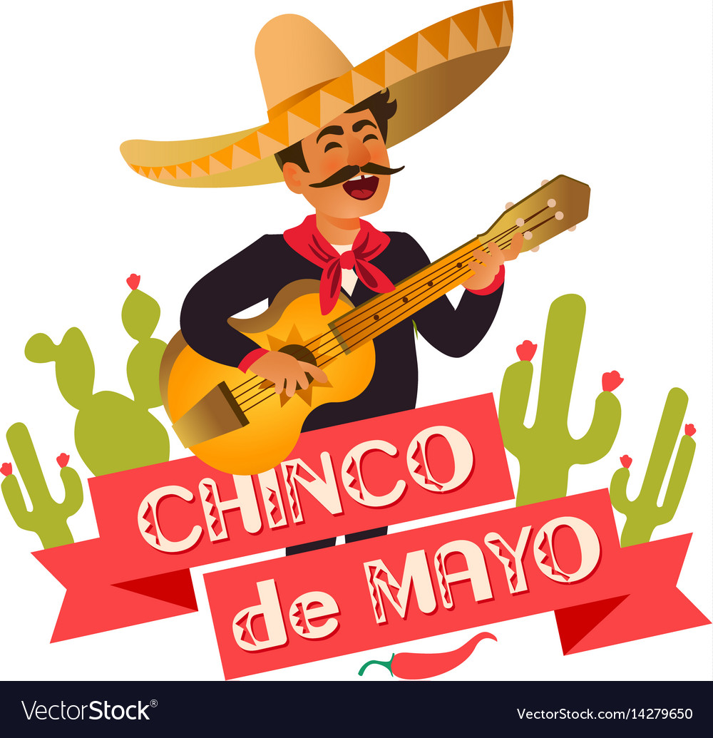 Mexico guitar player at the cinco de mayo festival vector image